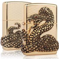 芝宝Zippo打火机 纯铜贴章四面环绕雕刻 SNAKE 蛇神 金蛇狂舞 蛇王