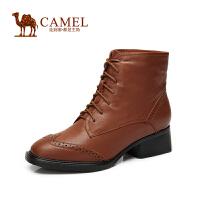 Camel骆驼女靴 时尚英伦风 小牛皮圆头系带绒里短靴子 新款
