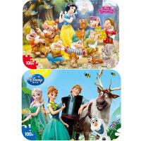 【当当自营】迪士尼拼图玩具 100片铁盒木质拼图二合一(公主2424+冰雪奇缘2429)