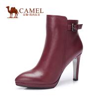 Camel/骆驼女鞋 简约 水染牛皮尖头 高跟酒杯跟拉链女短靴