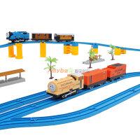 奋发 托马斯 轨道火车套装 双车头电动高架桥超大型豪华儿童玩具