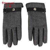 kenmont冬季韩版山羊毛手套 加厚保暖分指手套 男士冬季手套4912