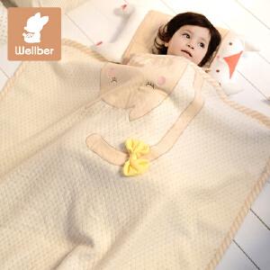 威尔贝鲁 彩棉婴儿毯 宝宝毛毯婴儿盖毯空调毯子新生儿抱毯春夏