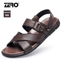 Zero零度凉鞋 男夏季新品真皮透气凉鞋露趾软底防滑沙滩鞋 男F6170