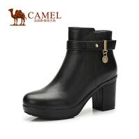 Camel骆驼女靴 新款优雅 圆头牛皮金属扣带侧拉链高跟防水台女靴