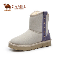 Camel骆驼女靴 时尚保暖 牛�S撞色铆钉圆头低跟雪地靴