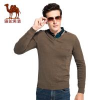 骆驼男装V领纯棉针织衫 2017秋季新款套头韩版修身男青年长袖毛衣
