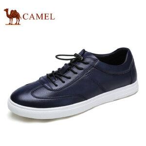camel骆驼男鞋新品 时尚休闲小黑鞋牛皮滑板鞋休闲板鞋