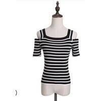 韩版女装条纹针织衫露肩款短袖修身新品上衣体恤  可礼品卡支付