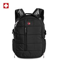 正品SWISSWIN瑞士十字轻便背包正品简约方格书包厚实背包休闲包
