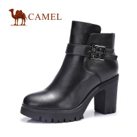 camel骆驼短靴 时尚优雅  冬新款 头层油腊牛皮圆头高跟女靴