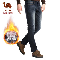Camel骆驼 冬季新款时尚直筒加绒加厚保暖微弹中腰青年牛仔裤男