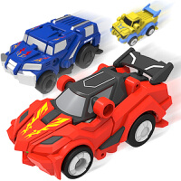 灵动创想 萌车家族 自动变形发条儿童玩具模型动漫玩具