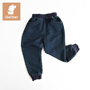 威尔贝鲁 男女童牛仔裤子 儿童冬季加绒长裤 宝宝秋冬厚款1-3岁