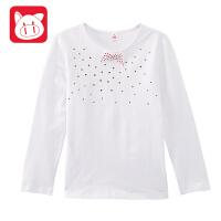小猪班纳童装女童体恤衫中大童休闲上衣2017新款儿童长袖T恤女