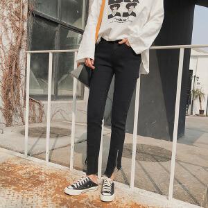 【满2件6折】白领公社 牛仔裤 女士秋季卷边时尚高腰弹力九分裤女式韩版显瘦铅笔小脚学生裤子