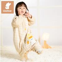 威尔贝鲁 可脱半袖 儿童睡袋 婴儿睡袋 秋季宝宝睡袋 纯棉防踢被四季