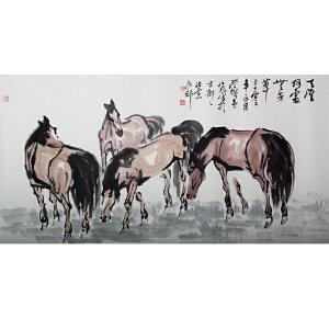 韦江凡  四马图
