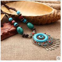 波西米亚民族风长款夸张女锁骨海边沙滩配饰品复古铃铛项链毛衣链  可礼品卡支付