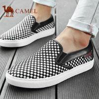 camel骆驼男鞋 新款 滑板鞋黑白格编织套脚乐福鞋男布鞋