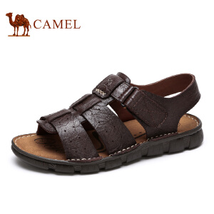 camel骆驼男鞋 夏季新款头层牛皮户外休闲舒适透气凉鞋男