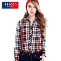 BRIOSO 春装新款 2017女式长袖衬衫 时尚百搭磨毛格子衬衫  翻领韩版修身长袖格子大码衬衣
