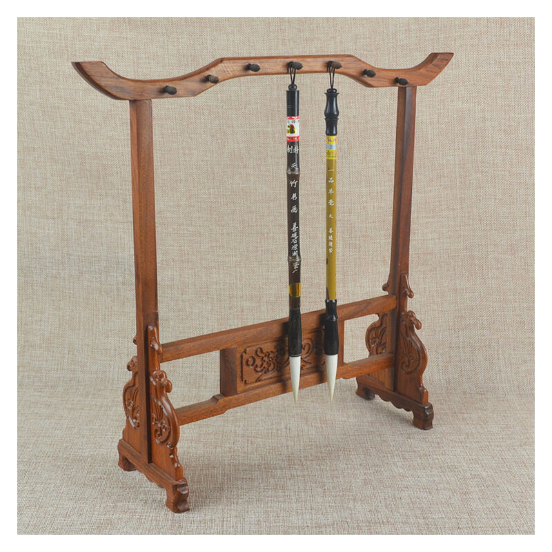 非洲花梨木红檀木红木书法用品 红酸枝木制毛笔架毛笔挂毛笔架子