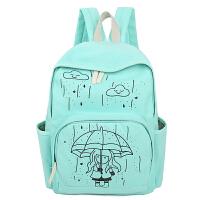 卡通女孩双肩包新款学生包女包书包旅游休闲学院风纯色时尚背包潮  AQ-9271#