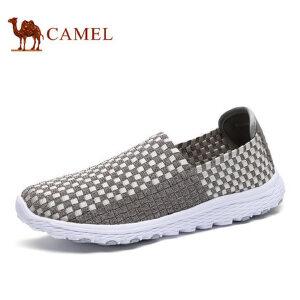 camel骆驼男鞋 新品 时尚休闲编织纹乐福鞋套脚男鞋休闲鞋