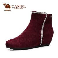 Camel骆驼女鞋  新款时尚羊皮水钻侧拉链内增高短靴子