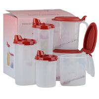 特百惠乐厨6件套厨房油壶调料盒盐盒(1个440油壶+1个650油壶+1个890油壶+3个大嘴蛙)