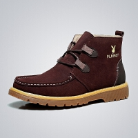 花花公子男靴 高帮男鞋秋冬季马丁靴男工装靴 时尚男皮鞋CX36251