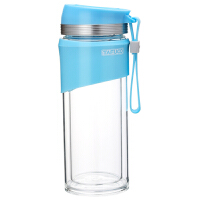 新款泰福高高硼硅炫彩双层茶隔玻璃杯 办公杯 车载杯玻璃水杯-蓝色