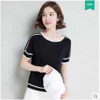韩版大码T恤短时尚韩范套头圆领条纹针织衫女薄款潮   可礼品卡支付
