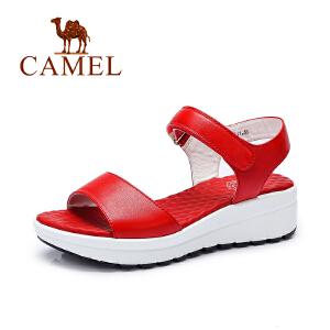 camel骆驼女鞋 时尚休闲 魔术贴凉鞋 夏季新品女厚底凉鞋