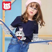 小猪班纳童装女童长袖T恤2017秋装新款儿童假两件上衣女儿童体恤