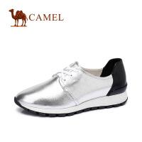 camel骆驼女鞋 简靓运动休闲 时尚 拼色圆头系带舒适运动鞋