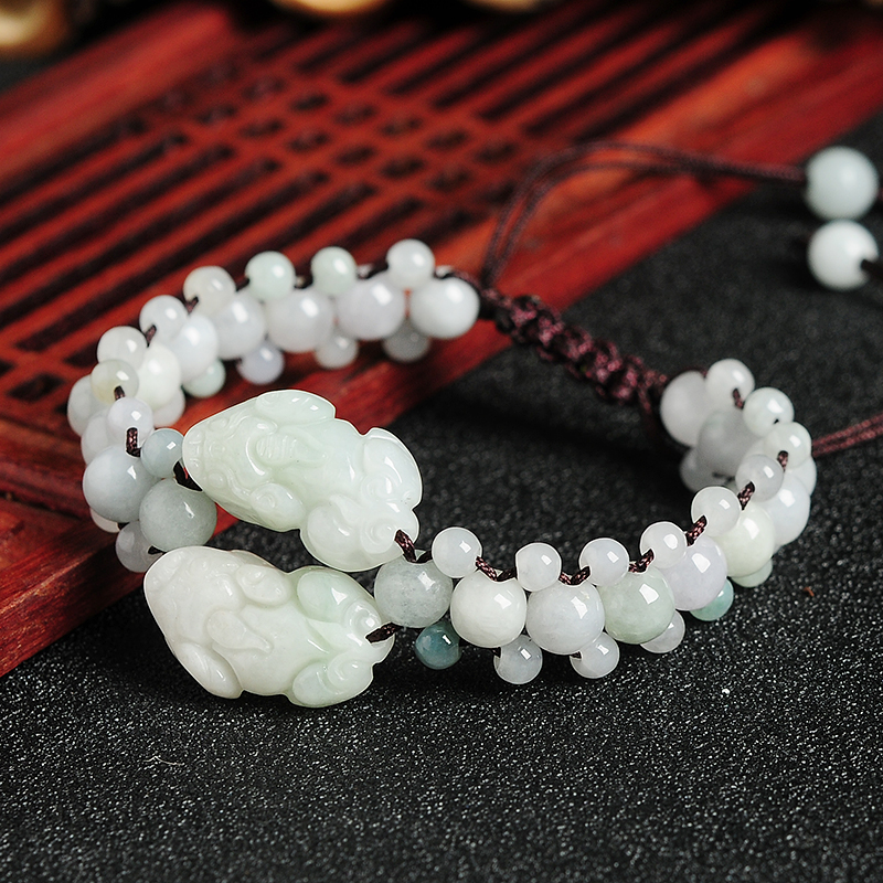 亿珍阁 天然a货翡翠珠子编织貔貅手链 缅甸玉女款链子