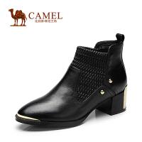Camel骆驼 短靴 新款时尚粗跟圆头打蜡牛皮高跟女靴