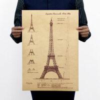 巴黎 铁塔 图纸A款 怀旧复古牛皮纸海报 装饰画芯 广告画51x36cm