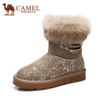 Camel骆驼女靴 新款时尚保暖牛�S拼接压花牛�S兔毛翻边短靴雪地靴