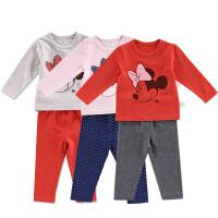 迪士尼宝宝男女童秋装长袖儿童内衣两件套莱卡棉内衣婴儿礼盒套装