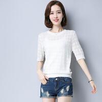 新款五分袖韩版圆领针织衫时尚镂空百搭打底衫纯色短款女  可礼品卡支付