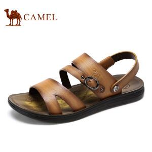 camel骆驼男鞋 夏季新款 头层牛皮日常休闲凉拖两穿男鞋