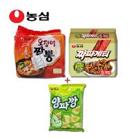 韩国进口食品 农心辛拉面 炸酱面+鱿鱼面五连包+洋葱片77g袋