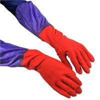 普润 加长接袖双层内毛绒保暖防水手套 橡胶手套