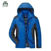 冬装新品战地吉普可脱卸帽防风防雨羽绒服外套60602A男士防寒保暖