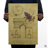 手绘图纸凯旋门 怀旧 复古 老海报 广告招贴画 酒吧装饰画51x35cm