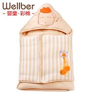 威尔贝鲁 护肚包被婴儿抱被新生儿抱毯 宝宝包巾纯棉春夏薄棉秋冬款 包邮