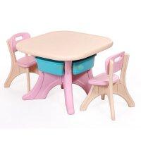 麦宝创玩 可拆儿童学习桌 小餐桌子塑料桌子饭桌写字桌 长方形儿童桌 幼儿园儿童房 塑料桌椅